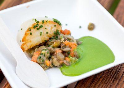 Noix de St-Jacques rôtie, Salade de lentilles, crème de laitue infusée à l'Estragon de Guillaume Goupil